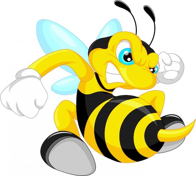 Desenhos animados de abelha com raiva