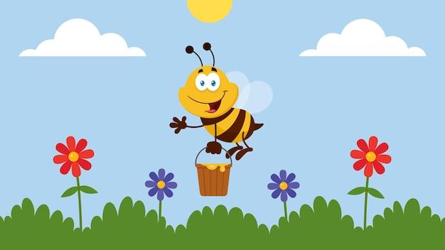 Desenhos animados de abelha voando com balde no jardim.