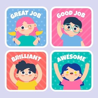 Desenhos animados de adesivos de bom trabalho