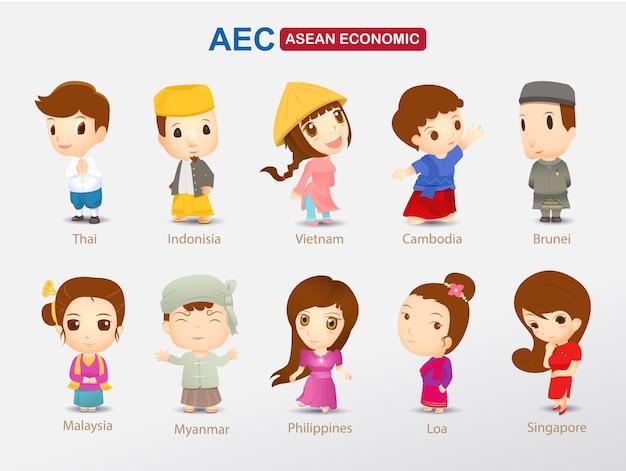 Desenhos animados de aec em traje asiático