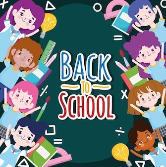 Desenhos animados de alunos de volta às aulas e ilustração de materiais educacionais