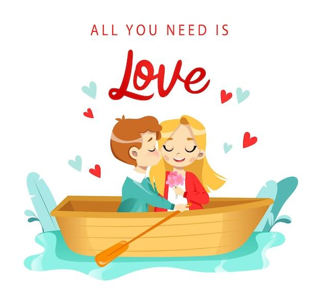 Desenhos animados de amantes, homem e mulher, passeando de barco no rio