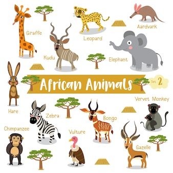 Desenhos animados de animais africanos com nomes de animais