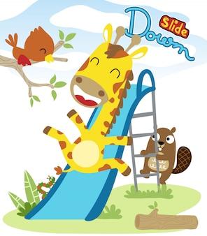 Desenhos animados de animais agradável jogando slide