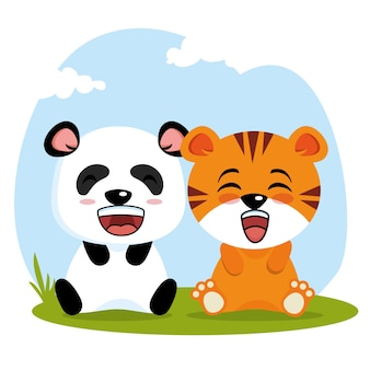 Desenhos animados de animais bonitos