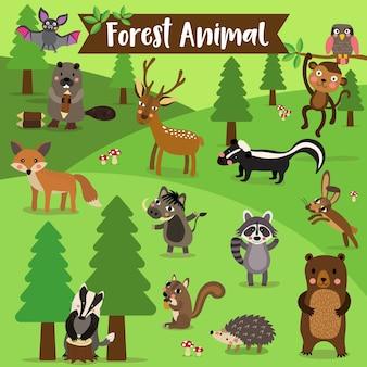 Desenhos animados de animais da floresta