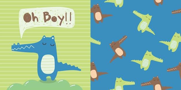 Desenhos animados de animais de crocodilo doodle cartão bonito e padrão sem emenda para crianças