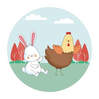 Desenhos animados de animais de fazenda feliz
