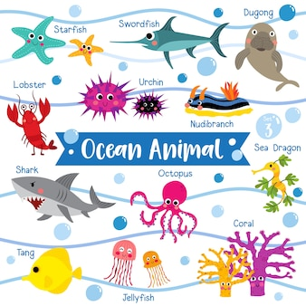 Desenhos animados de animais do oceano com nome de animais