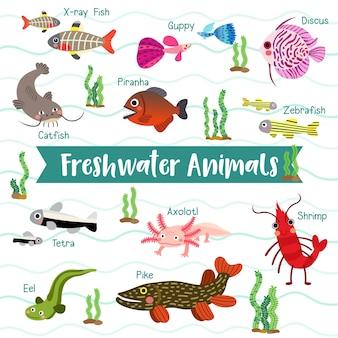 Desenhos animados de animais do oceano