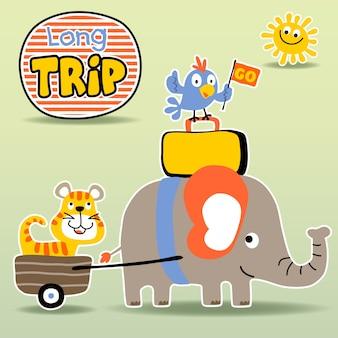 Desenhos animados de animais engraçados Vetor Premium