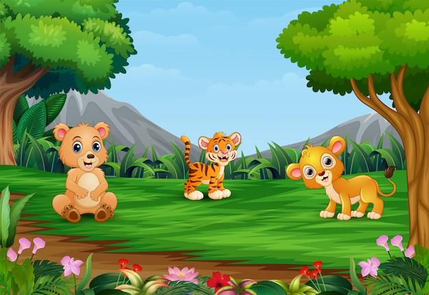 Desenhos animados de animais felizes estão desfrutando no belo jardim