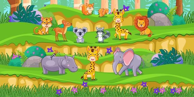Desenhos animados de animais felizes no parque com plantas verdes