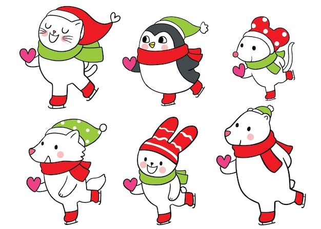 Desenhos animados de animais fofos de natal e ano novo, patinação no gelo e vetor de coração