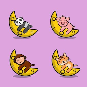 Desenhos animados de animais fofos dormindo na lua