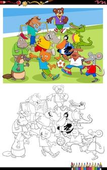 Desenhos animados de animais jogando futebol na página do livro para colorir