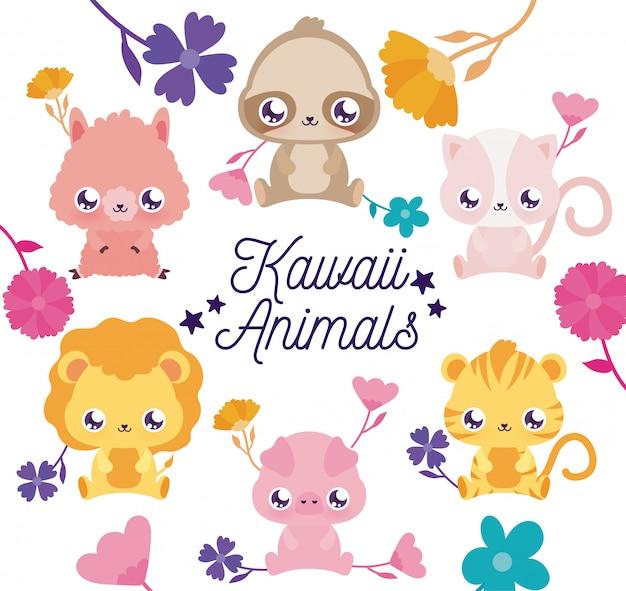 Desenhos animados de animais kawaii e flores