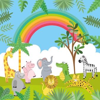 Desenhos animados de animais na selva