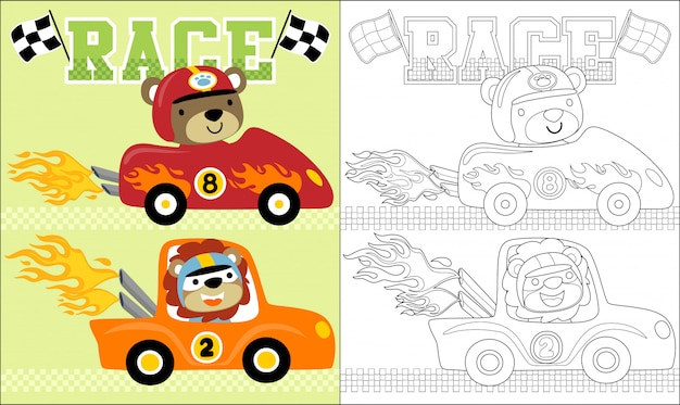Desenhos animados de animais no carro de corrida.
