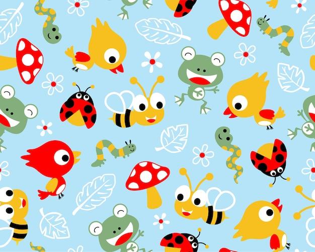 Desenhos animados de animais pouco engraçados no vetor padrão sem emenda