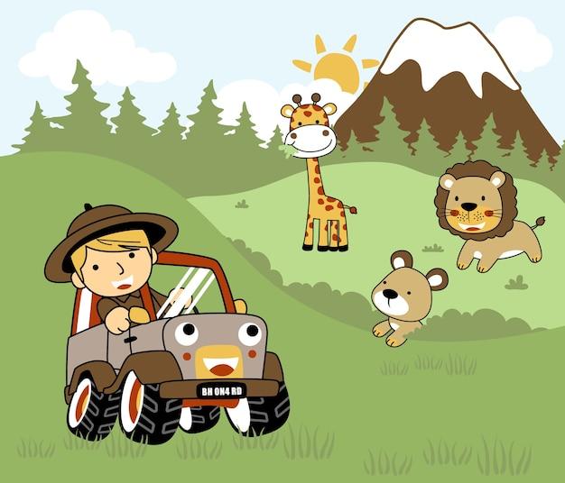 Desenhos animados de animais safari com um menino em um carro.
