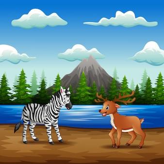 Desenhos animados de animais selvagens, curtindo a natureza na margem do rio
