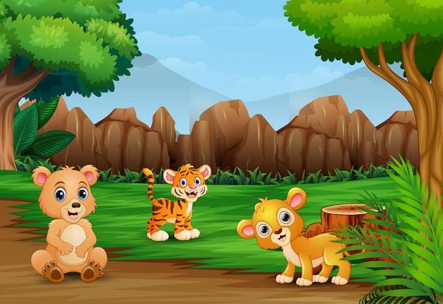 Desenhos animados de animais selvagens na paisagem bela natureza