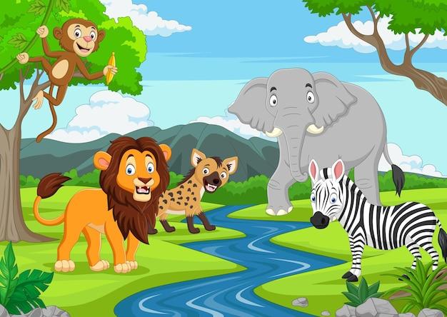 Desenhos animados de animais selvagens na selva