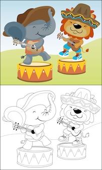 Desenhos animados de animais tocando guitarra usando sombrero mexicano chapéus