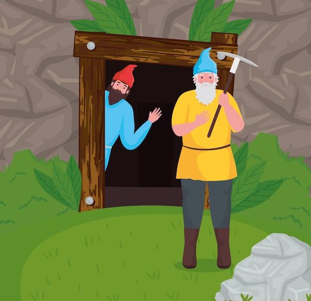 Desenhos animados de anões de conto de fadas na ilustração da floresta