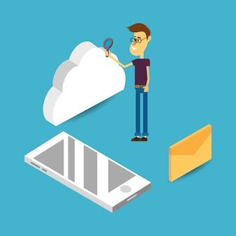 Desenhos animados de armazenamento em nuvem
