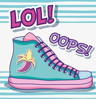 Desenhos animados de arte pop de sapato legal