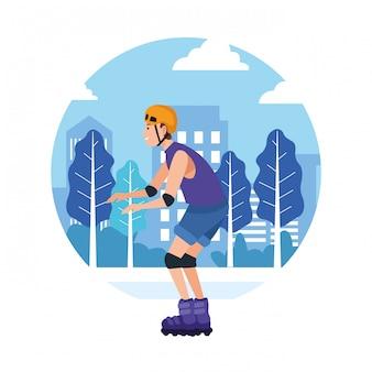 Desenhos animados de atividade esportiva ao ar livre de esporte