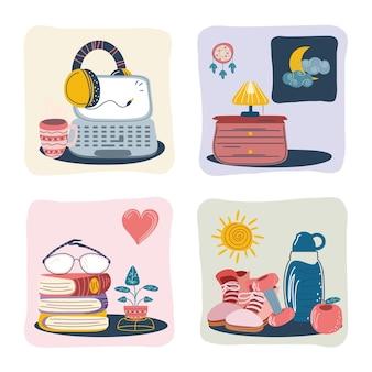 Desenhos animados de atividades de rotina diária