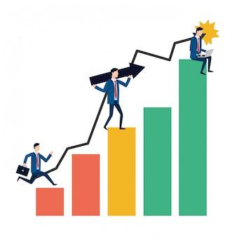 Desenhos animados de avatar de empresários bem sucedidos