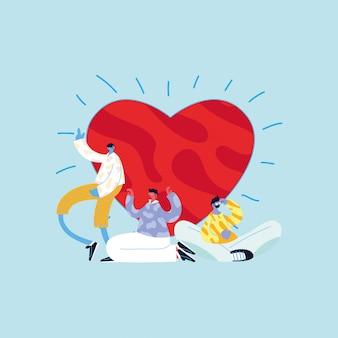 Desenhos animados de avatares de homens com desenho vetorial de coração