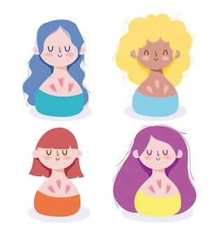 Desenhos animados de avatares de mulheres