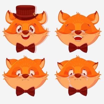 Desenhos animados de avatares de raposa com emoções diferentes, isolados no fundo branco