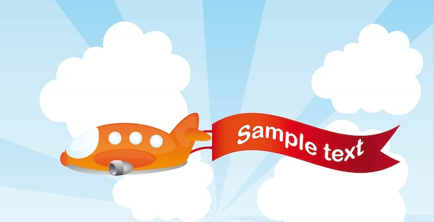 Desenhos animados de avião laranja com ilustração vetorial de publicidade