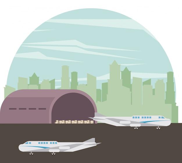 Desenhos animados de aviões de passageiros comerciais de transporte