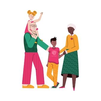 Desenhos animados de avós com crianças - família isolada com idosos