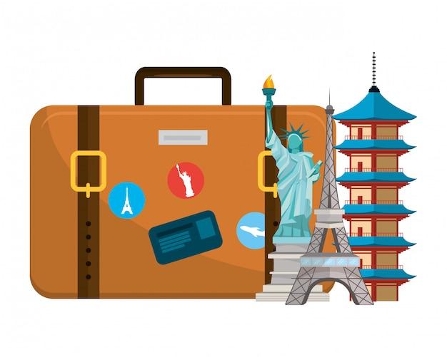 Desenhos animados de bagagem de viagem