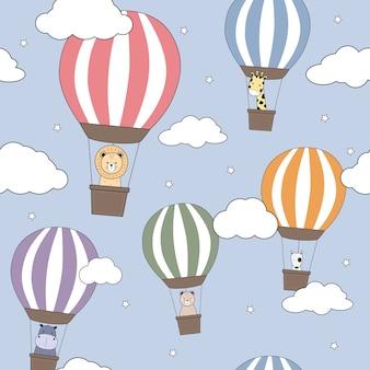 Desenhos animados de balão de ar quente de animais fofos doodle padrão sem emenda