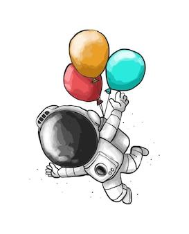 Desenhos animados de balão de astronauta