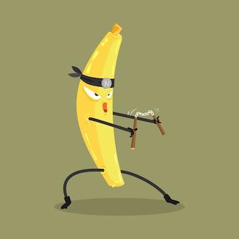 Desenhos animados de banana ninja