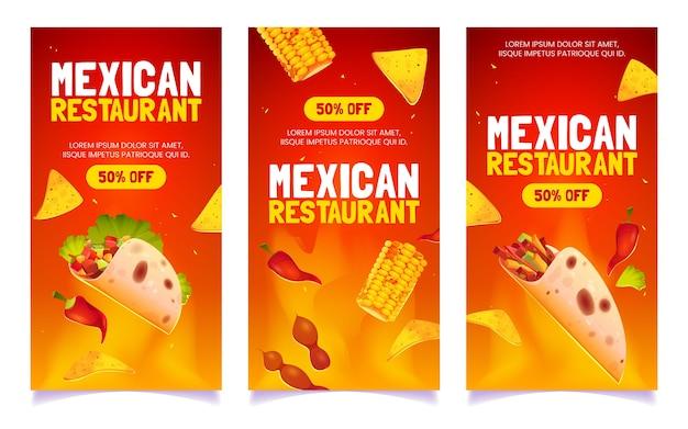 Desenhos animados de banners de restaurante mexicano
