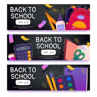 Desenhos animados de banners horizontais de volta às aulas