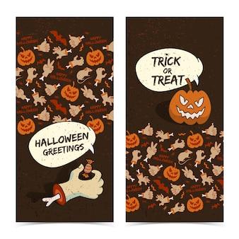 Desenhos animados de banners verticais de halloween com uma abóbora assustadora de braço zumbi