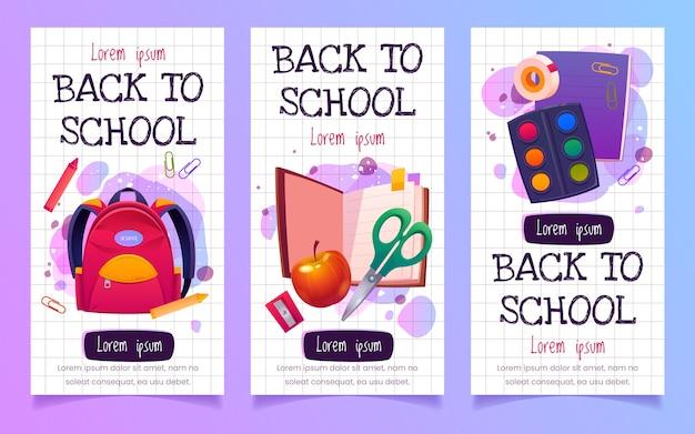 Desenhos animados de banners verticais de volta às aulas