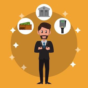 Desenhos animados de banqueiros de negócios
